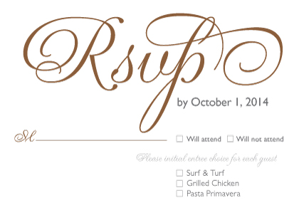 Response Card with menu options - Bold & Elegant