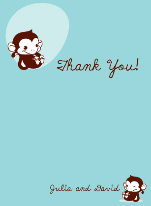 Baby Thank You Card - Monkey Do