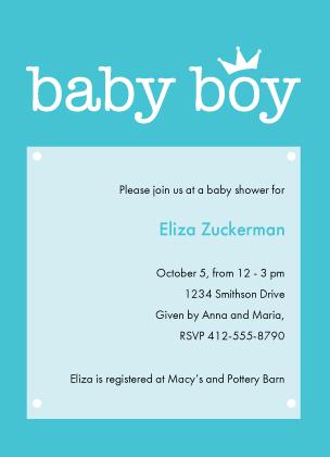 Baby Shower Invitation - Baby Crown