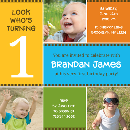 Birthday Party Invitation with photo - A Colorful Celebration