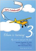 Birthday Party Invitation - airplane banner