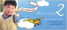 Birthday Party Invitation with photo - airplane banner