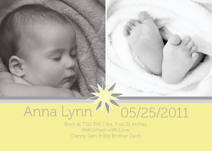 Birth Announcement with photo - Sun Burst Baby