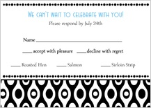 Response Card with menu options - black and white