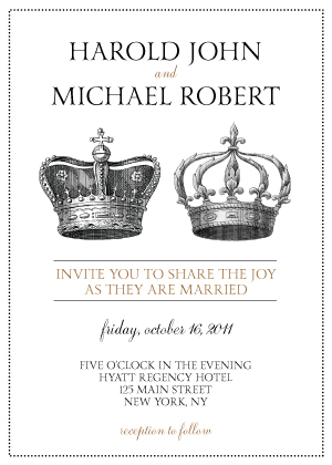 Wedding Invitation same sex - I Crown Thee