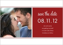 Save the Date Card with photo - square blocks and stripes