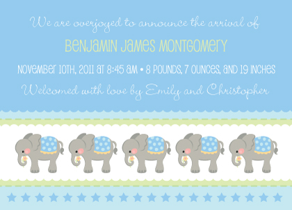Birth Announcement - Elephant Parade