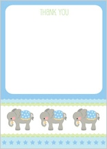 Baby Thank You Card - elephant parade (boy)