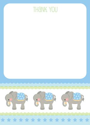 Baby Thank You Card - Elephant Parade (Boy)