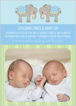 Multiples Birth Announcement with photo - elephant parade