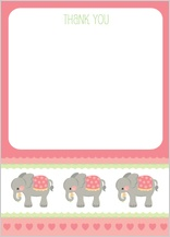 Baby Thank You Card - elephant parade (girl)