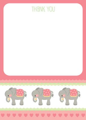 Baby Thank You Card - Elephant Parade (Girl)