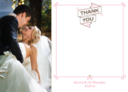 Wedding Thank You Card with photo - Sweet Ribbons