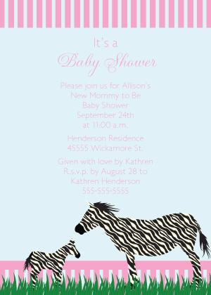 Baby Shower Invitation - Zebra Baby Shower