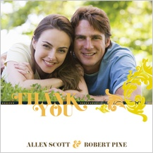 Wedding Thank You Card with photo - simple flourish