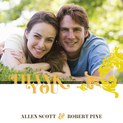 Wedding Thank You Card with photo - Simple Flourish