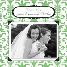 Wedding Thank You Card with photo - wedding damask