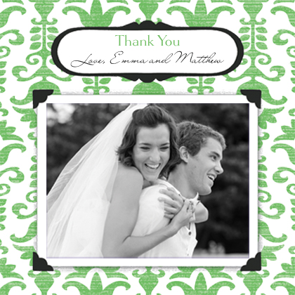Wedding Thank You Card with photo - Wedding Damask