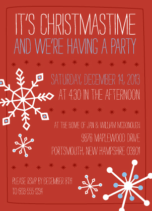 Holiday Party Invitations - Jolly Snowflakes