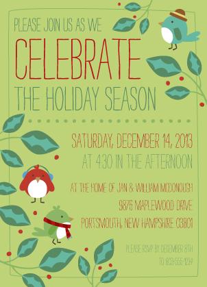 Holiday Party Invitations - Holly Jolly