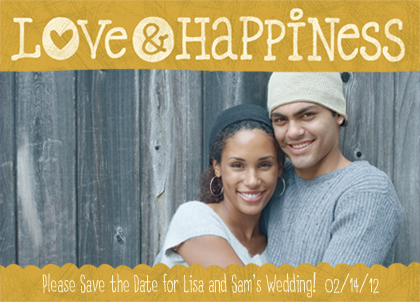 Save the Date Card with photo - Love & Happiness