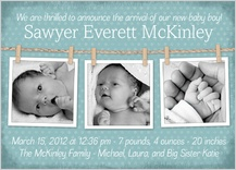 Birth Announcement with photo - baby clothesline