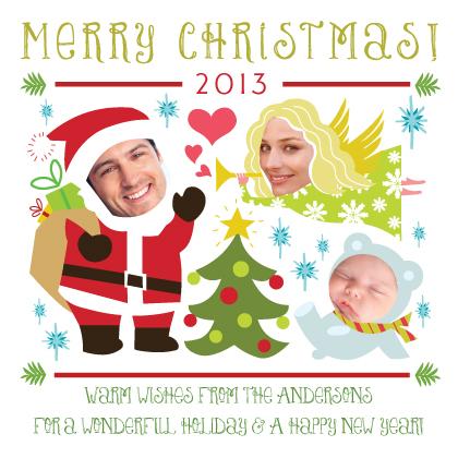 Christmas Cards - 3-Photo Christmas Characters