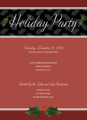 Holiday Party Invitations - Holly Party