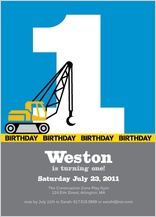 Birthday Party Invitation - first birthday crane construction