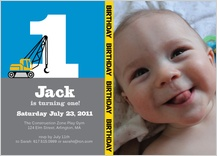 Birthday Party Invitation with photo - first birthday crane construction